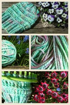 Loomknitting, spring breezy slouchy hat from Joy4crafts , yarn dyed with easter egg tablets