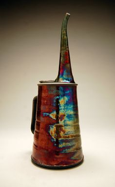 Oil Can No1  Raku Pottery  Copper Purple Green Blue  by clayguyry, $225.00