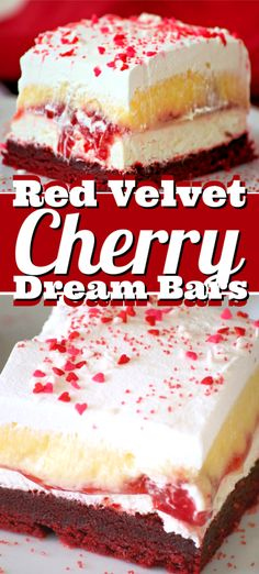 Red Velvet Cherry Dream Bars – a red velvet cookie crust, a sweet cheese layer. - Red Velvet Cherry Dream Bars – a red velvet cookie crust, a sweet cheese layer, cherry pie fillin - Single Serve Desserts, Desserts For A Crowd, Great Desserts, Delicious Desserts, Tolle Desserts, Köstliche Desserts, Dessert Recipes, Dessert Bars, Cherry Desserts