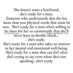 She doesn't want a boyfriend, she's ready for a man.