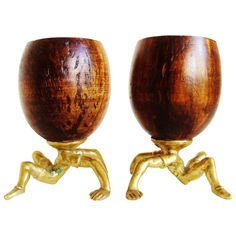 Rare Pair of Early Surreal, Figurative Coconut and Brass Cups by Arthur Court. | From a unique collection of antique and modern barware at https://www.1stdibs.com/furniture/dining-entertaining/barware/