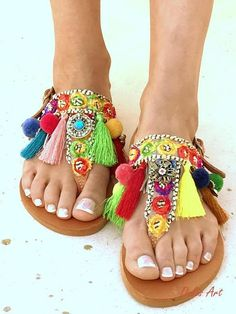 d460ab334ad3bd 26 Best greek sandals handmade pom pom bohemian images in 2019 ...