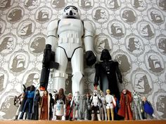 Take a closer look @ the wallpaper - perfect for a little boys room....who likes Star Wars of course!