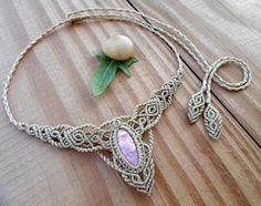 Rhodochrosite macrame necklace, macrame tiara, fairy necklace, macrame jewelry, hippie necklace, macrame stone, micro macrame, elven jewelry