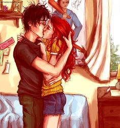 Harry Potter and Ginny Weasley~ I like the book version of this relationship better then the movie version. I mean Dan and Bonnie are great... just they were awkward together......