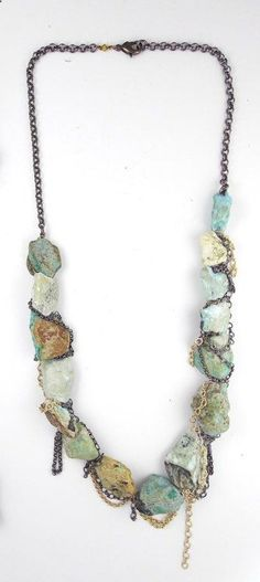 Turquoise Nugget and Chain necklace
