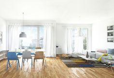 Die hellen Eigentumswohnungen bieten eine Wohnfläche von 37 m² bis 156 m². Hier können Sie sich vollkommen entfalten.