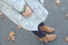 Target Fringe Booties with Cardigan Wrap and Denim