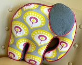 Elephant Pillow in Grey Yellow and Pink