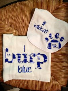 Personalized baby gown and hat set kentucky wildcats baby kentucky wildcat bib and burp set by polkadotcheeks on etsy 1500 willow needs this negle Choice Image