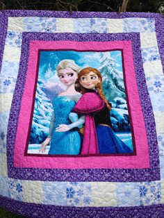 Child's Elsa and Anna Quilt Fabric Panel Quilts, Lap Quilts, Strip Quilts, Quilt Baby, My Little Pony Bedding, Quilting Projects, Sewing Projects, Frozen Quilt, Frozen Pattern