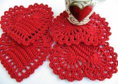 Mis Pasatiempos Amo el Crochet: Individuales corazòn