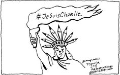 JeSuisCharlie cartoon by Gabriel Campanario for the Seattle Times, Seattle, Washington
