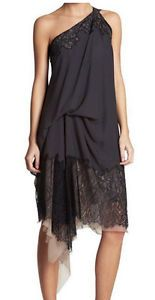 """""""Ash"""" Dress in Charcoal with Draped Lace over Dusty Rose Silk"""