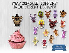 Five Nights at Freddy's cupcake toppers. 16 different designs!