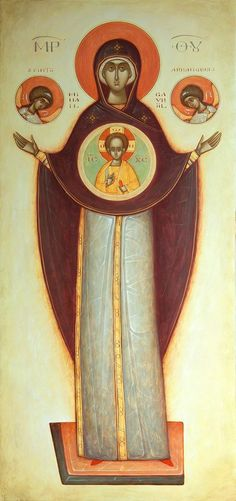 Ryan Mosley, Orthodox Icons, Virgin Mary, Signs, Madonna, Gabriel, Religion, Modern, Painting