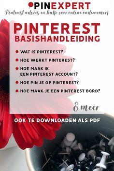 Wat is Pinterest? Kom snel de basis te weten over dit sociale media kanaal met deze Pinterest handleiding. Met handige tips, bijvoorbeeld hoe je op personen zoekt of hoe je een bord geheim maakt. Artikel van pinexpert.nl; zakelijke tips op Pinterest en meer.