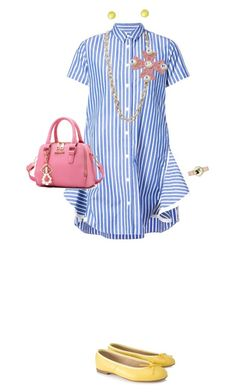 """""""Shirtdress stripes"""" by merryl-key on Polyvore featuring Sacai, Yves Saint Laurent, Josefinas, WithChic and Alexis Bittar"""