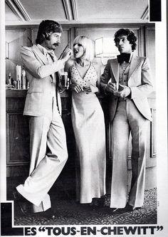 1974 Jours de France ad for evening wear Seventies Fashion, 70s Fashion, Fashion History, Vintage Fashion, Hippie Fashion, Fashion Men, Vintage Hippie, Vintage Men, Mens Evening Wear