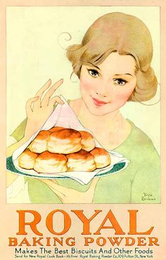Vintage illustraion by Marjorie Torre Bevans for Royal Baking Powder, 1920 Vintage Diy, Vintage Ads Food, Pub Vintage, Vintage Baking, Vintage Labels, Vintage Ephemera, Vintage Cards, Vintage Signs, Vintage Recipes