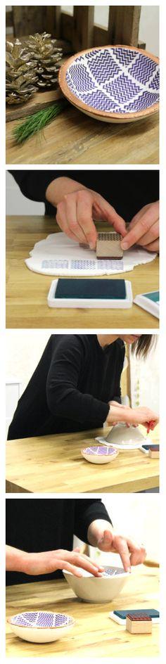 Eine einfache Geschenkidee zum Selbermachen: die gestempelte Schmuckschale aus Fimo. Von Makerist.de