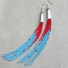 Seed Bead Earrings, Sterling Silver Cones, Rocket Fringe w Red, Blue,  Sterling Silver Beads, Swarovski Crystal Shoulder Duster Earrings