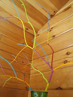 Painting branches for display - add decorations that go with the type of  party you are having