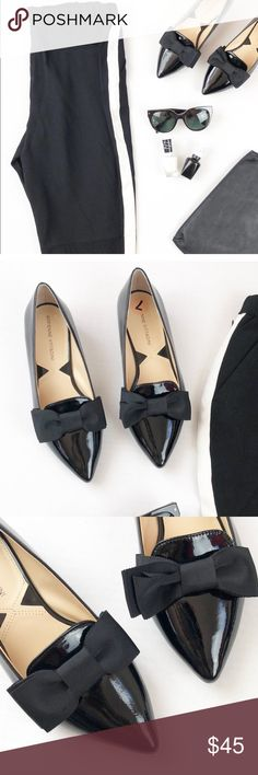 Adrienne Vittadini flat pointy flats with bows Adrienne Vittadini flat pointy flats with bows. New without tags. So adorable and a must have to any wardrobe can be worn multiple ways, fancy or casual. Adrienne Vittadini Shoes Flats & Loafers
