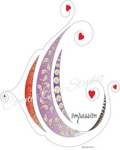 Instant Digital Download Love Lines Letter C for Compassion Abstract Doodle Drawing