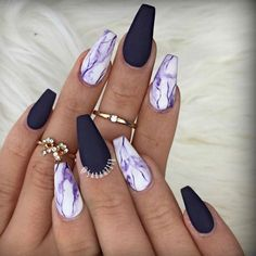 Why do acrylic nails always look way better then natural nails? There is just something about acrylic nails that are simply fabulous and we have found a bunch of awesome acrylic nail designs. Best Acrylic Nails, Acrylic Nail Art, Acrylic Nail Designs, Nail Art Designs, Purple Nail Designs, Purple Nails With Design, Awesome Nail Designs, Acrylic Summer Nails Almond, Coffin Acrylic Nails