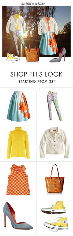 """Jean Jacket To The Rescue!!"" by sandjpopescu ❤ liked on Polyvore featuring Chicwish, Versace, Acne Studios, J.Crew, Kate Spade, Brahmin, Santoni and Converse"