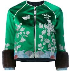 GUCCI Embroidered Track Jacket ($3,685) ❤ liked on Polyvore featuring outerwear, jackets, tops, gucci, green jacket, multi-color leather jackets, floral-print bomber jackets and gucci jacket