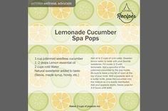 doTerra Social Media - Recipe - Lemonade Cucumber Spa Pops