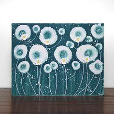 Etsy $42 Teal Daisy Painting - Original Acrylic on Canvas Art - 14X11