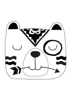 Tribal monocromático oso grabado vivero por TheKidsPrintStore