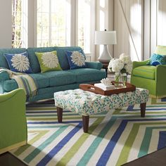 Company C Flatweave Rug Chevron Capri Blue For the basement??