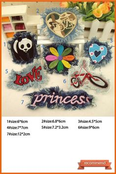 PUNK Patches Princess heart love flower Jeans patches Sew on Patches