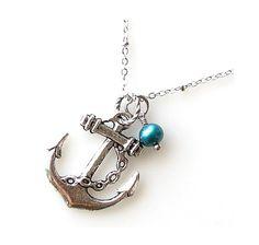 silver anchor necklace  ocean jewelry beach by KriyaDesign on Etsy, $23.00