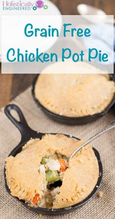 Grain Free Chicken Pot Pie cooked chicken with carrots and celery. Links to a clever cauliflower sauce. Primal Recipes, Gluten Free Recipes, Low Carb Recipes, Whole Food Recipes, Cooking Recipes, Healthy Recipes, Candida Recipes, Dinner Recipes, Dinner Ideas