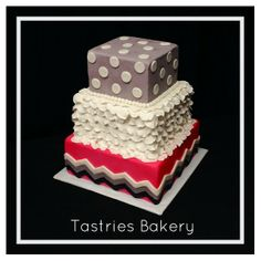 Pink Grey and White chevron Ruffled Polka Dot Birthday Cake from Tastries Bakery, Bakersfield Bakery.