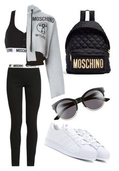 """""""$$$moschino"""" by beatriceorholm ❤ liked on Polyvore featuring Moschino, adidas and Christian Dior"""