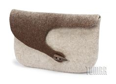 Clutch bag. Felt - 100% wool. Handmade, solid-rolled, ala-qiyiz technique. Wooden button. Color: natural light + dark. Christmas collection 2016. Tumar Art Group.
