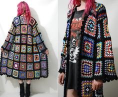 ☩GRANNY SQUARE JACKET    Handmade by Crux and Crow  Made from amazing vintage rainbow granny square crochet  Scallop edges  Long length  Slightly