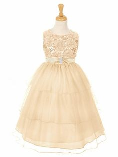 Champagne Embroidered Mesh Flower & Sequins Bodice Dress w/ Layered Sparkle Mesh Skirt. Cute flower girl dress.