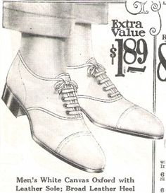 1920s Mens's White Canvas Shoes with Black Soles. White shoes for women were only allowed in summer months. For men that was generally true too but many fashionable gentlemen, especially in sunny California, wore white shoes year round.