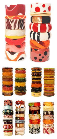 Vintage Bangles- Bakelite bracelets Display collection - Find them at www.rubylane.com @rubylanecom #RubyLane