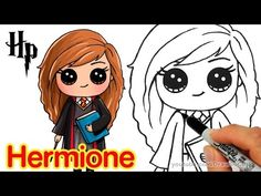 Follow along to learn how to draw Hermione Granger from J. K. Rowling Harry Potter step by step. This is a chibi version of Emma Watson who plays Hermione in...
