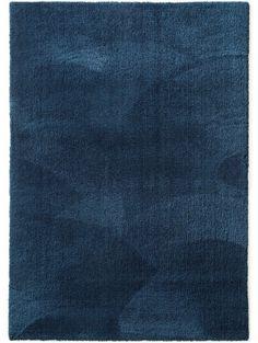 Lavable Tapis à poils longs Lahty Bleu foncé 80x150 cm