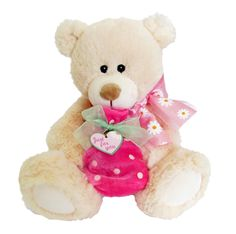 """A sweet teddy bear with a pink bag on it's knee that can hold a little gift. The sign on the heart says """"Just for you"""".  #sendateddy #teddybear #toy #gift"""