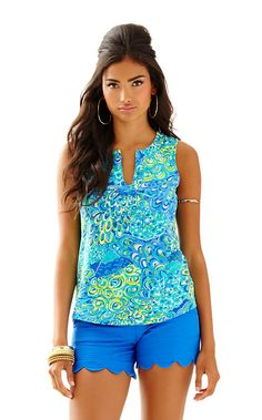 Marlow Sleeveless Top - Sea Blue Lilly's Lagoon - Size XL